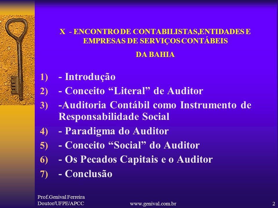 - Conceito Literal de Auditor