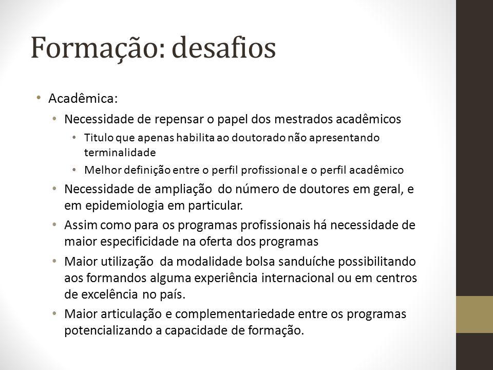 Formação: desafios Acadêmica: