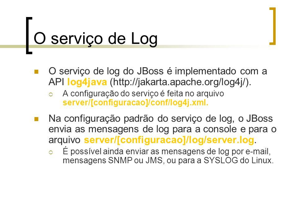 O serviço de Log O serviço de log do JBoss é implementado com a API log4java (http://jakarta.apache.org/log4j/).