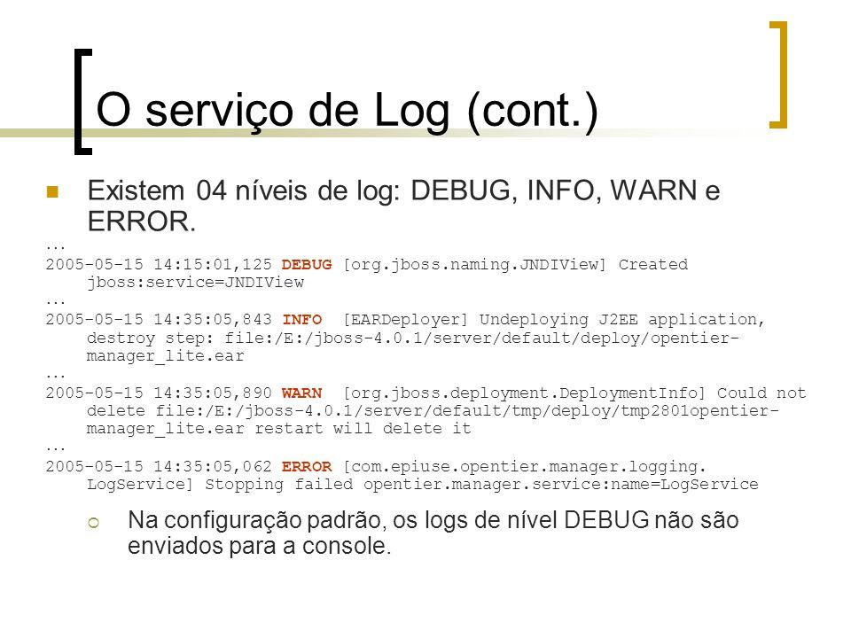 O serviço de Log (cont.) Existem 04 níveis de log: DEBUG, INFO, WARN e ERROR. ...