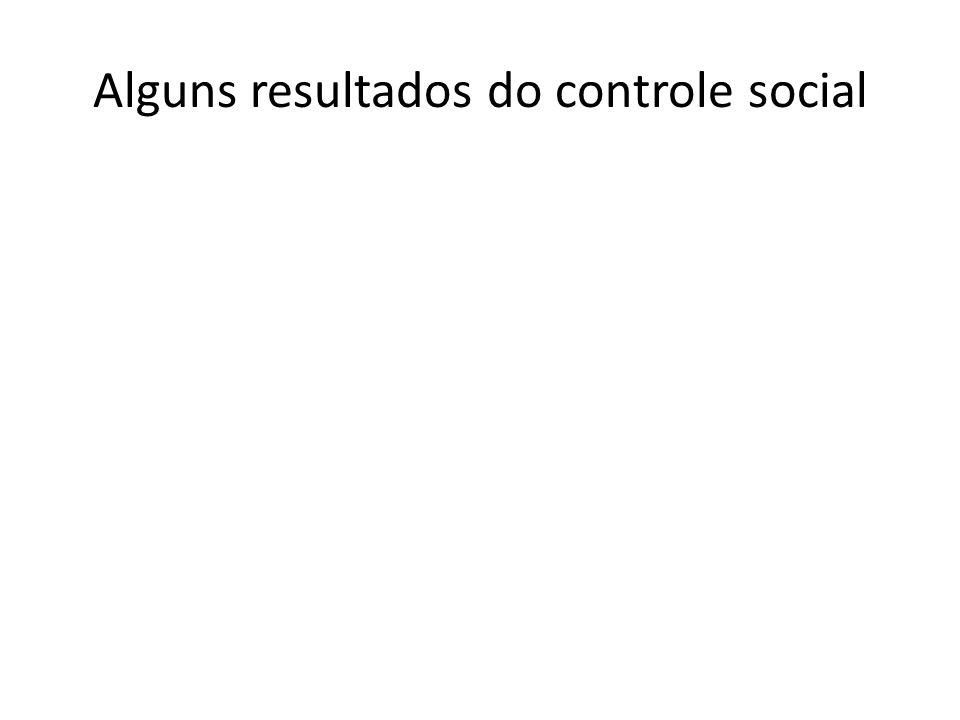 Alguns resultados do controle social