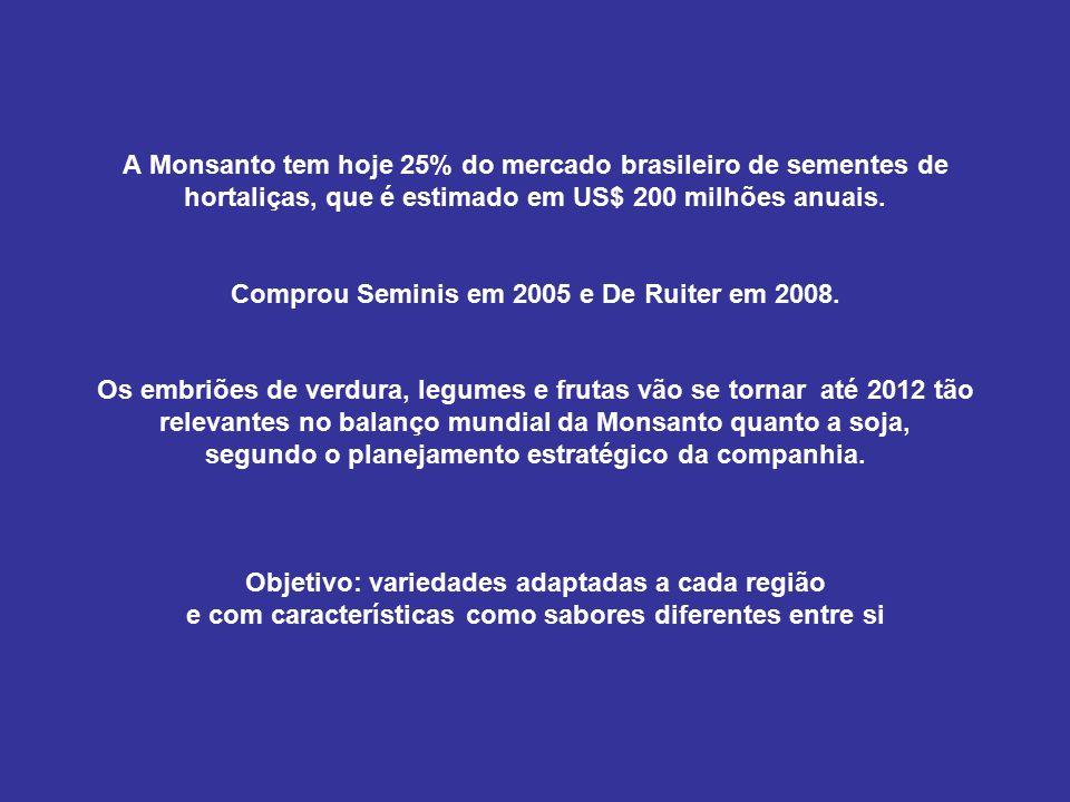 A Monsanto tem hoje 25% do mercado brasileiro de sementes de hortaliças, que é estimado em US$ 200 milhões anuais.