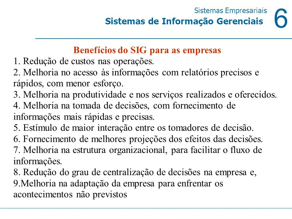 Benefícios do SIG para as empresas