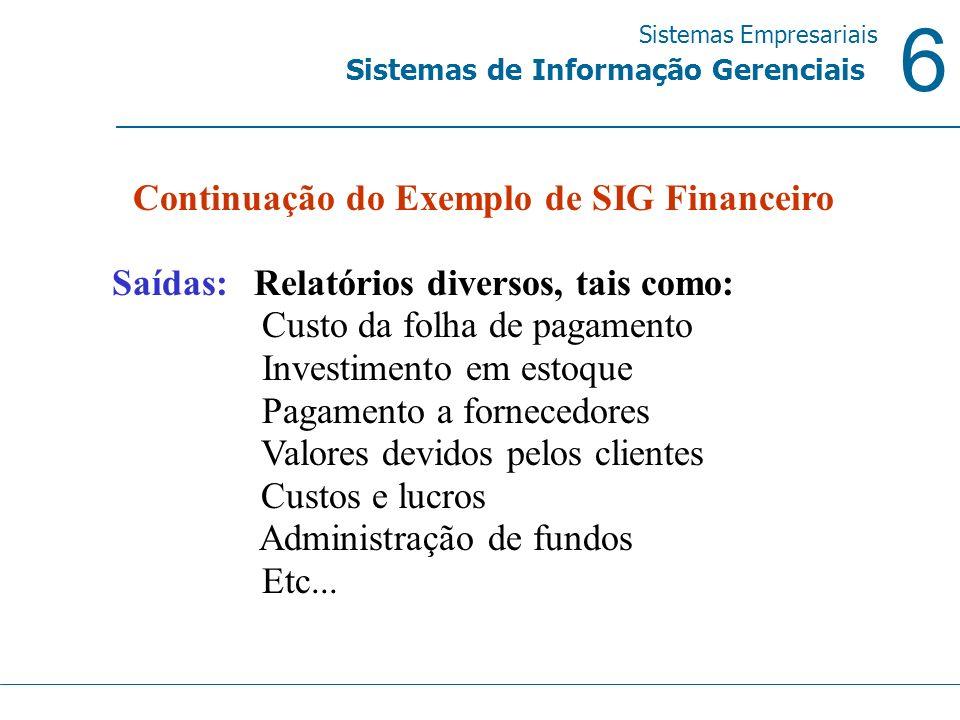 Continuação do Exemplo de SIG Financeiro