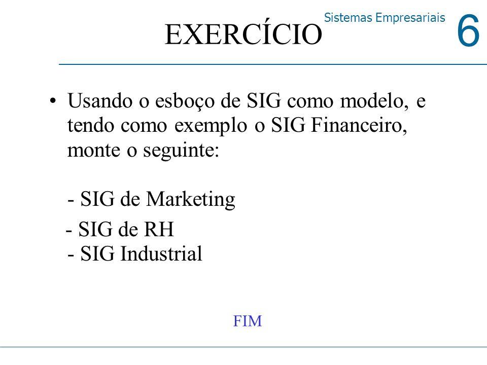 EXERCÍCIO Usando o esboço de SIG como modelo, e tendo como exemplo o SIG Financeiro, monte o seguinte: - SIG de Marketing.