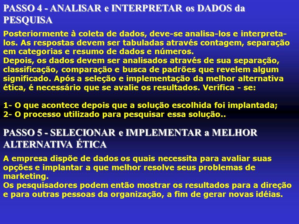 PASSO 4 - ANALISAR e INTERPRETAR os DADOS da PESQUISA
