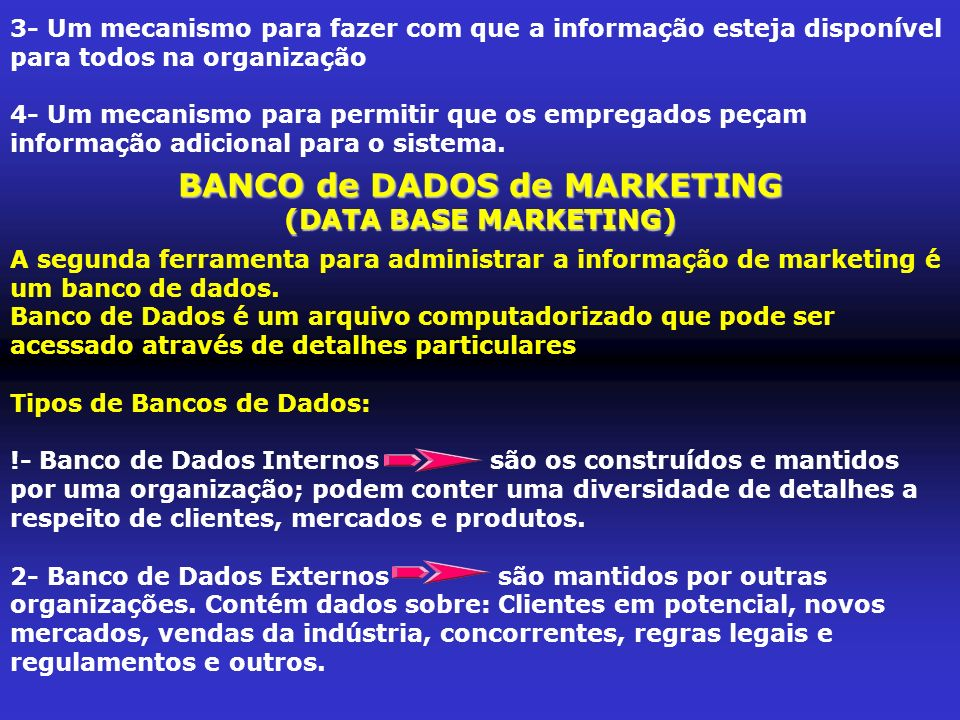 BANCO de DADOS de MARKETING
