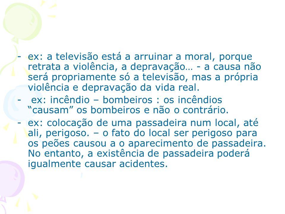 ex: a televisão está a arruinar a moral, porque retrata a violência, a depravação… - a causa não será propriamente só a televisão, mas a própria violência e depravação da vida real.