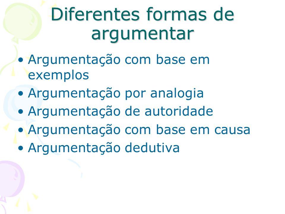 Diferentes formas de argumentar