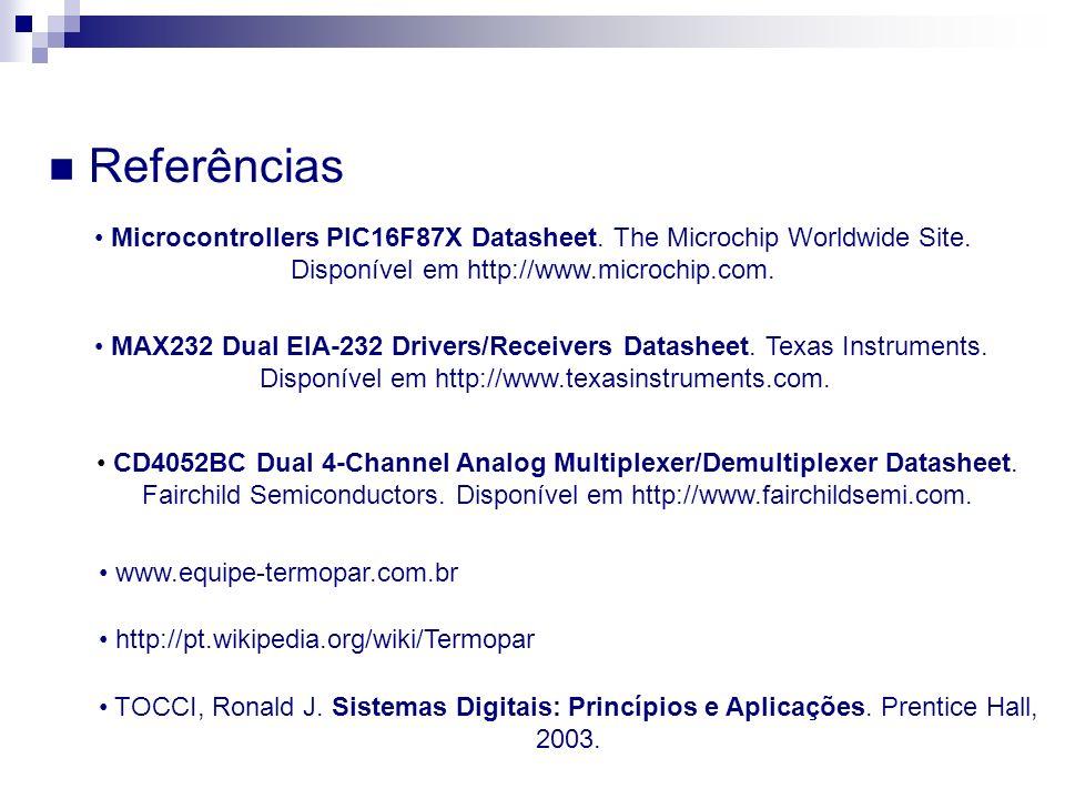 ReferênciasMicrocontrollers PIC16F87X Datasheet. The Microchip Worldwide Site. Disponível em http://www.microchip.com.