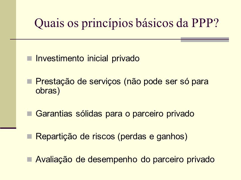 Quais os princípios básicos da PPP