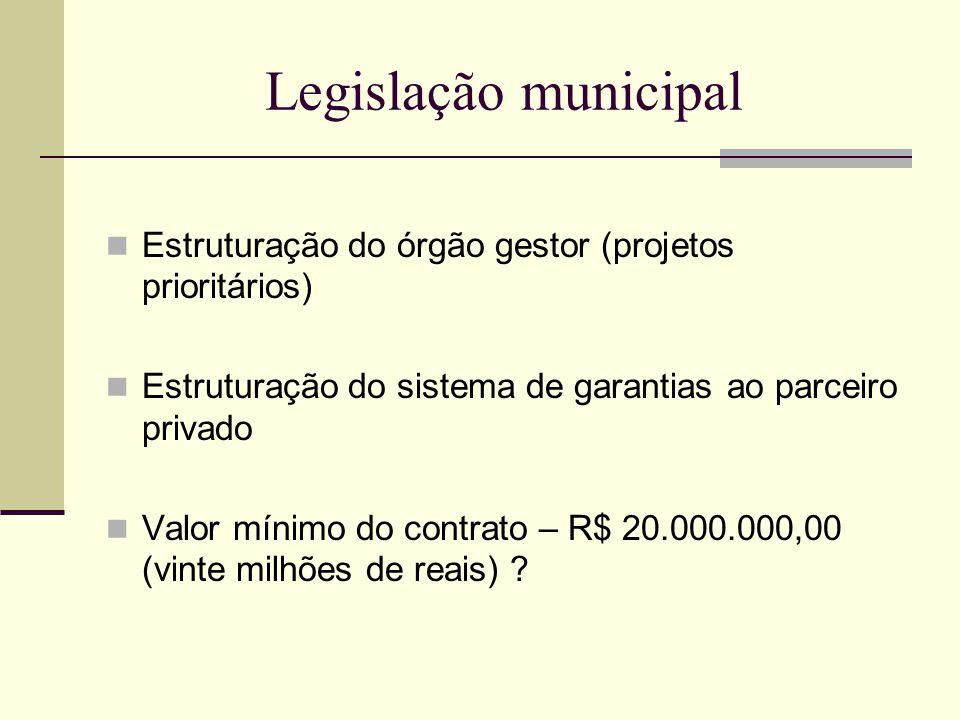 Legislação municipal Estruturação do órgão gestor (projetos prioritários) Estruturação do sistema de garantias ao parceiro privado.