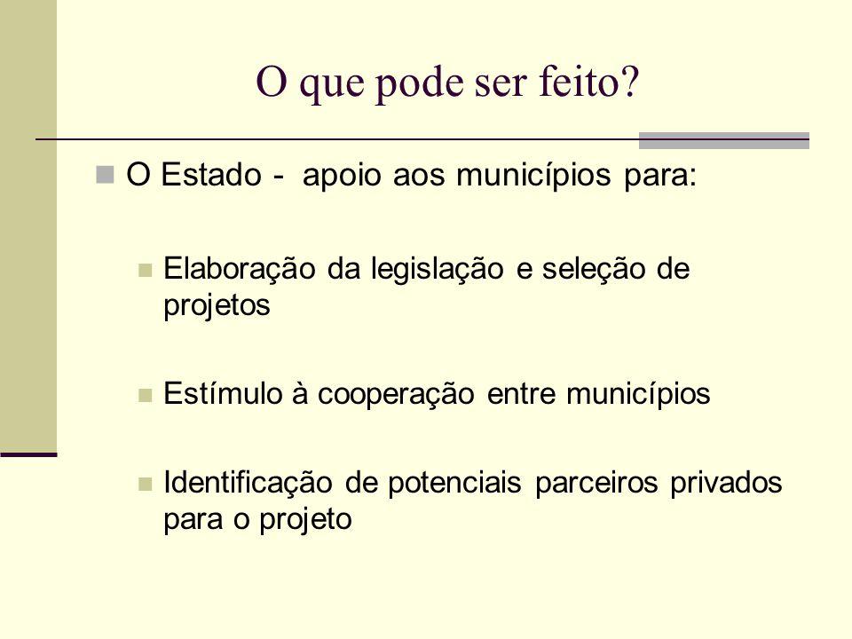 O que pode ser feito O Estado - apoio aos municípios para: