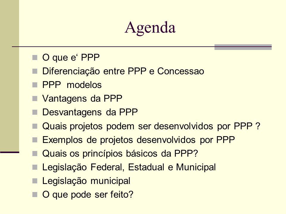 Agenda O que e' PPP Diferenciação entre PPP e Concessao PPP modelos