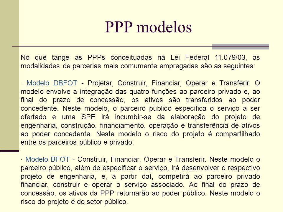 PPP modelos No que tange às PPPs conceituadas na Lei Federal 11.079/03, as modalidades de parcerias mais comumente empregadas são as seguintes: