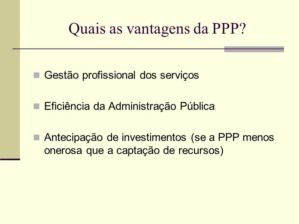 Quais as vantagens da PPP