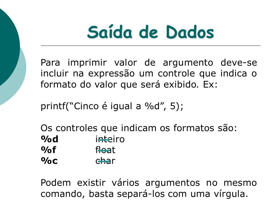 Saída de Dados Para imprimir valor de argumento deve-se incluir na expressão um controle que indica o formato do valor que será exibido. Ex: