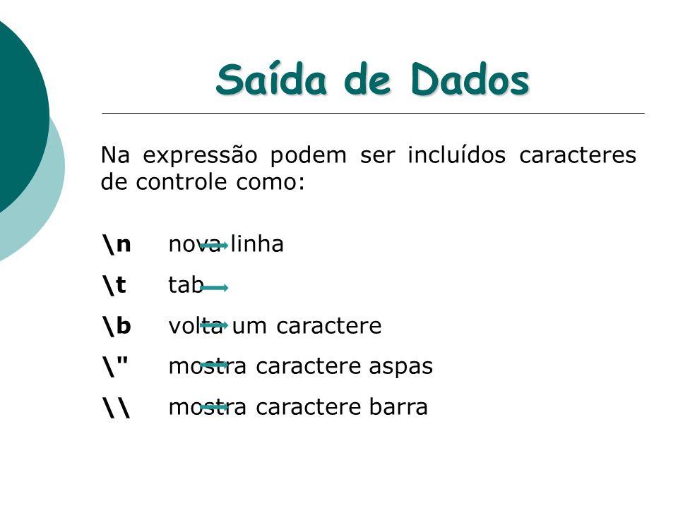 Saída de Dados Na expressão podem ser incluídos caracteres de controle como: \n nova linha. \t tab.