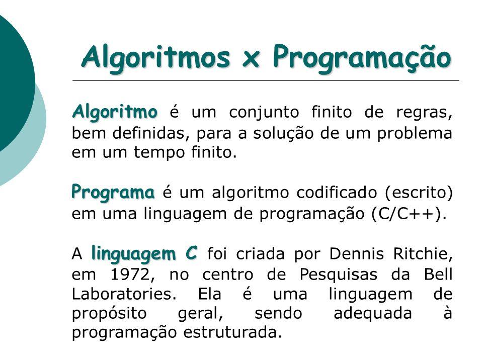 Algoritmos x Programação
