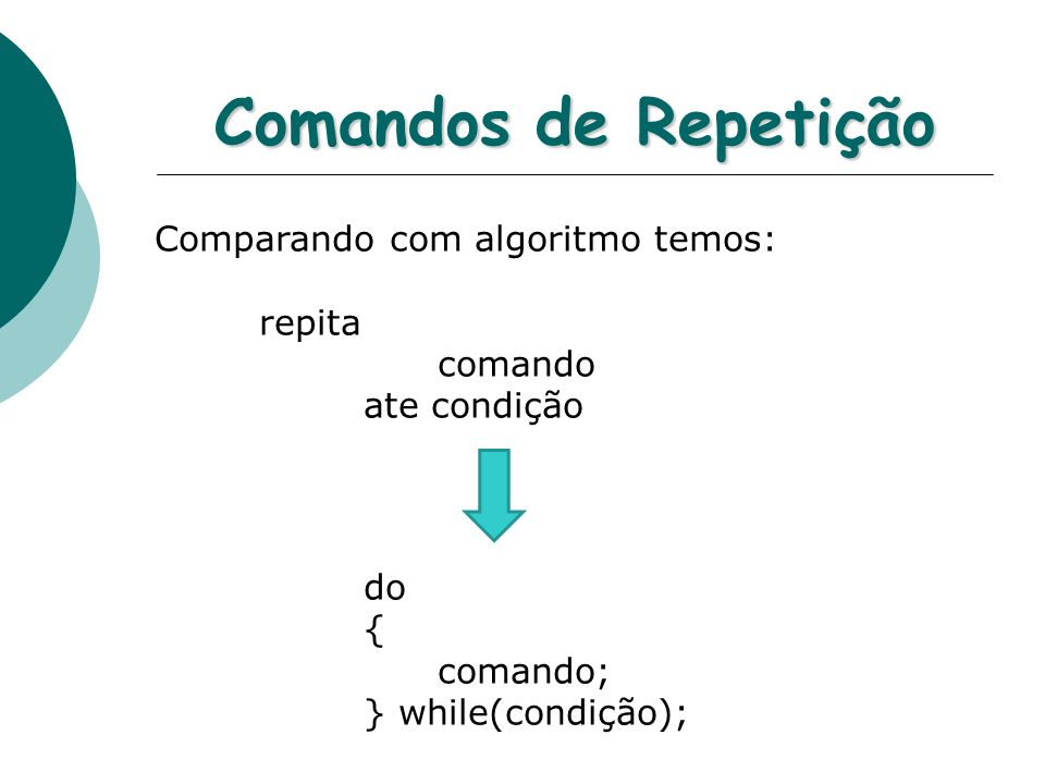 Comandos de Repetição Comparando com algoritmo temos: