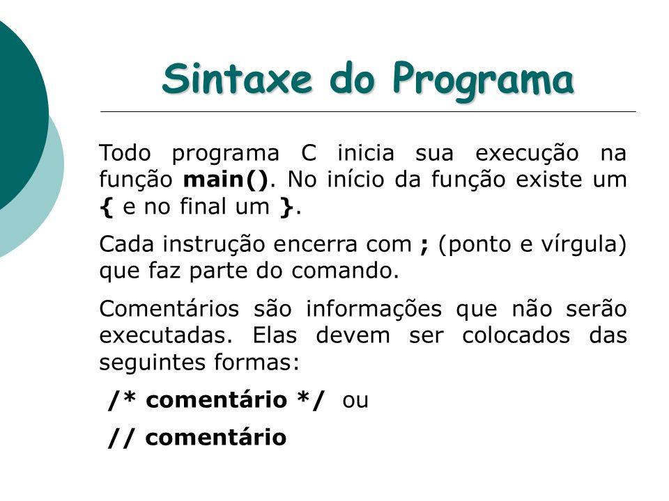 Sintaxe do Programa Todo programa C inicia sua execução na função main(). No início da função existe um { e no final um }.