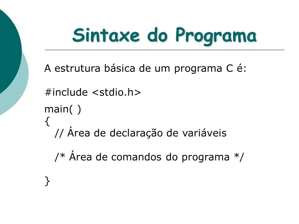 Sintaxe do Programa A estrutura básica de um programa C é: