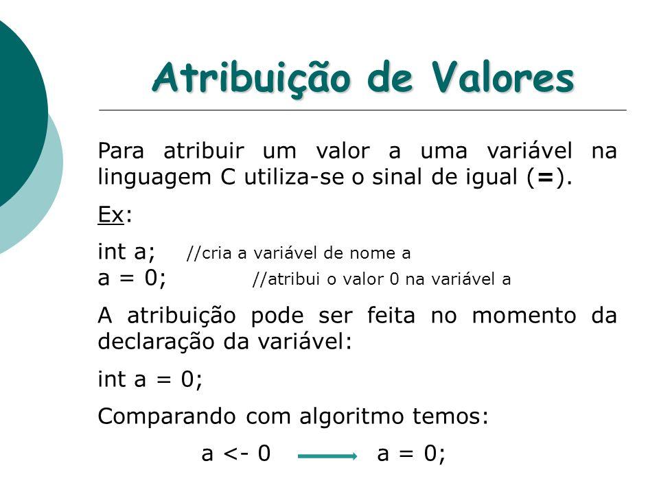 Atribuição de Valores Para atribuir um valor a uma variável na linguagem C utiliza-se o sinal de igual (=).