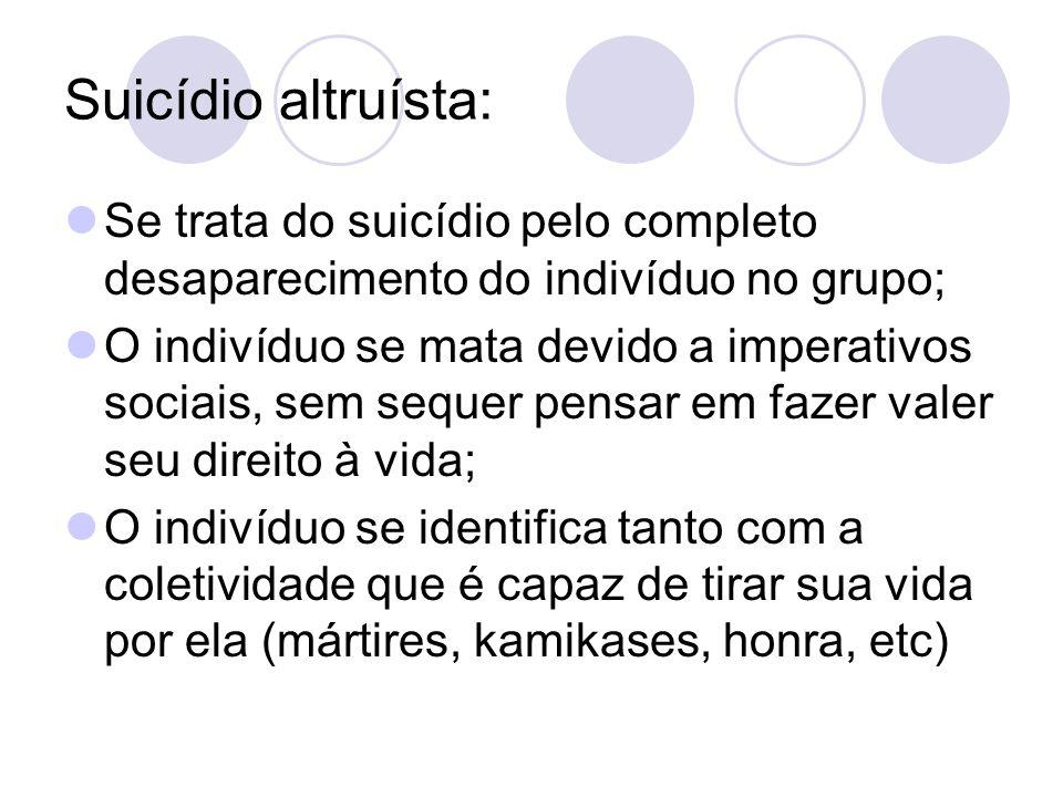 Suicídio altruísta: Se trata do suicídio pelo completo desaparecimento do indivíduo no grupo;