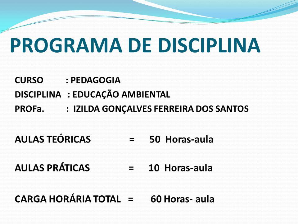 PROGRAMA DE DISCIPLINA