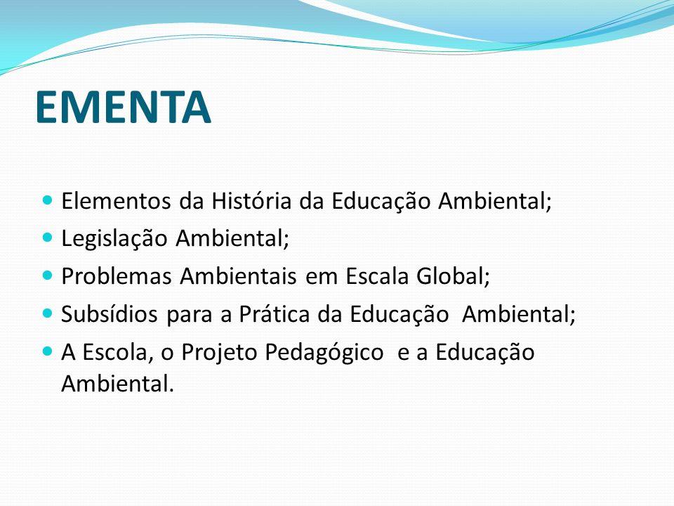 EMENTA Elementos da História da Educação Ambiental;