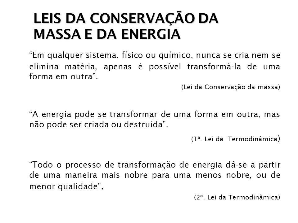 LEIS DA CONSERVAÇÃO DA MASSA E DA ENERGIA
