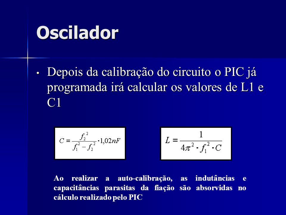 Oscilador Depois da calibração do circuito o PIC já programada irá calcular os valores de L1 e C1.