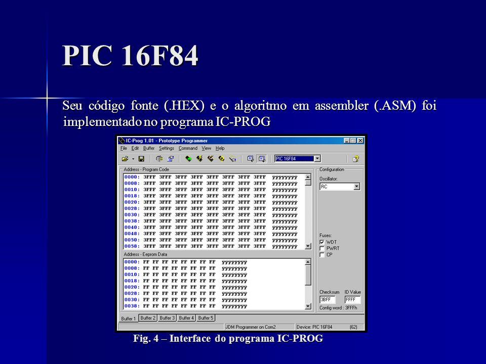 PIC 16F84 Seu código fonte (.HEX) e o algoritmo em assembler (.ASM) foi implementado no programa IC-PROG.