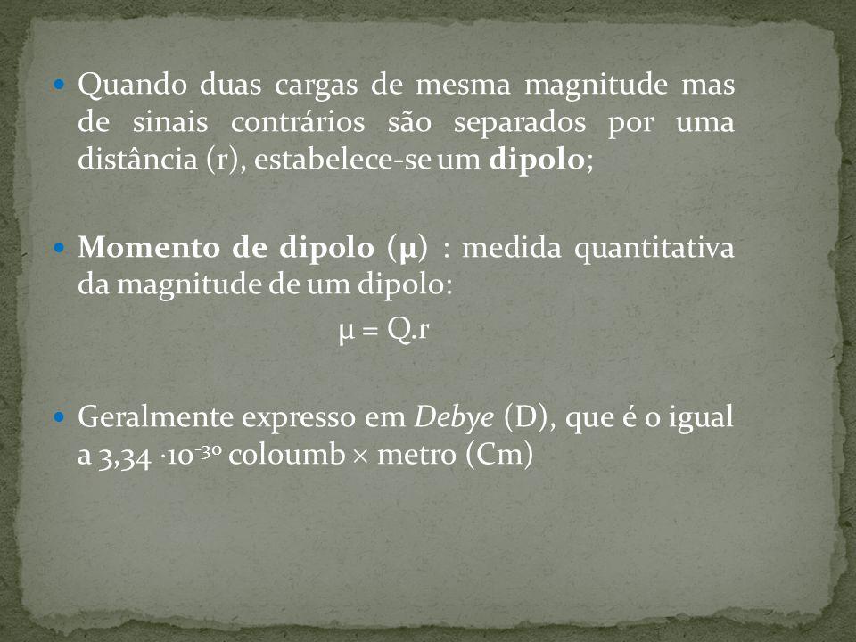 Quando duas cargas de mesma magnitude mas de sinais contrários são separados por uma distância (r), estabelece-se um dipolo;