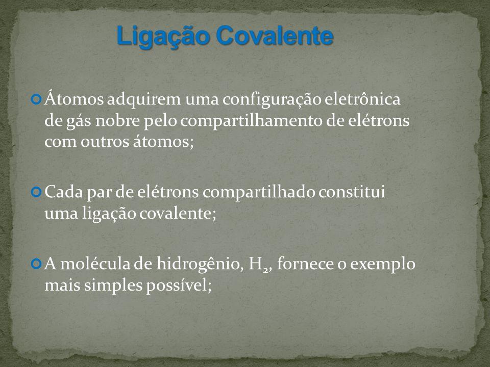 Ligação Covalente Átomos adquirem uma configuração eletrônica de gás nobre pelo compartilhamento de elétrons com outros átomos;