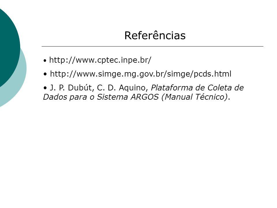 Referências http://www.simge.mg.gov.br/simge/pcds.html