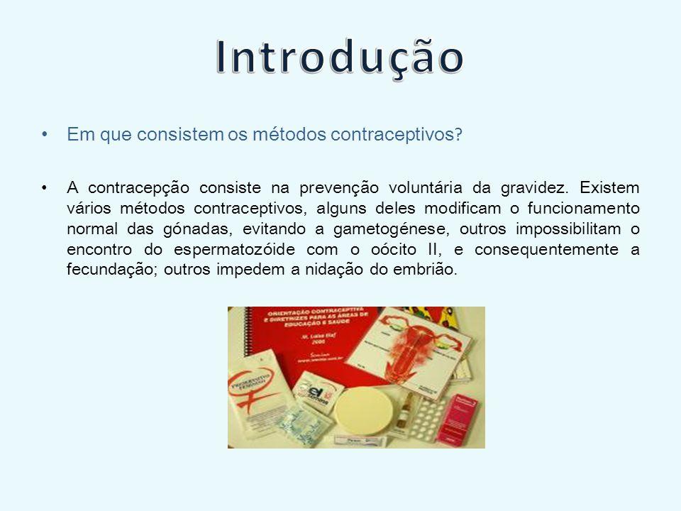 Introdução Em que consistem os métodos contraceptivos