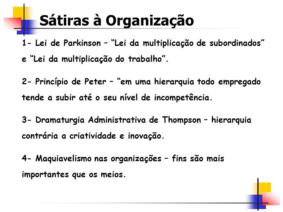 Sátiras à Organização 1- Lei de Parkinson – Lei da multiplicação de subordinados e Lei da multiplicação do trabalho .