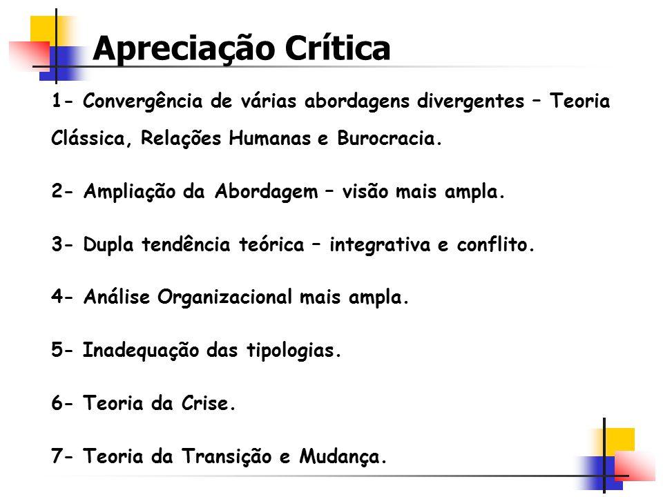 Apreciação Crítica 1- Convergência de várias abordagens divergentes – Teoria Clássica, Relações Humanas e Burocracia.