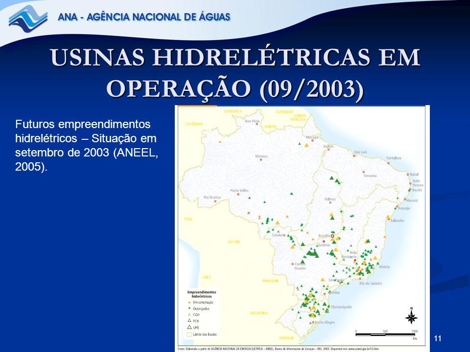 USINAS HIDRELÉTRICAS EM OPERAÇÃO (09/2003)