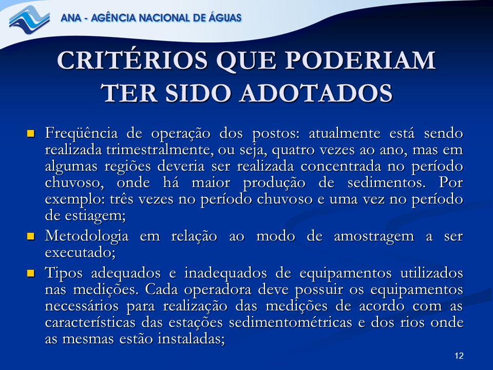 CRITÉRIOS QUE PODERIAM TER SIDO ADOTADOS