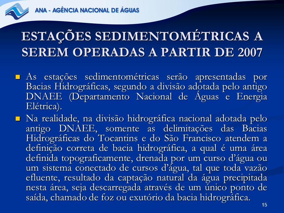 ESTAÇÕES SEDIMENTOMÉTRICAS A SEREM OPERADAS A PARTIR DE 2007