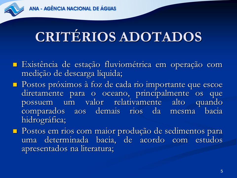 CRITÉRIOS ADOTADOS Existência de estação fluviométrica em operação com medição de descarga líquida;