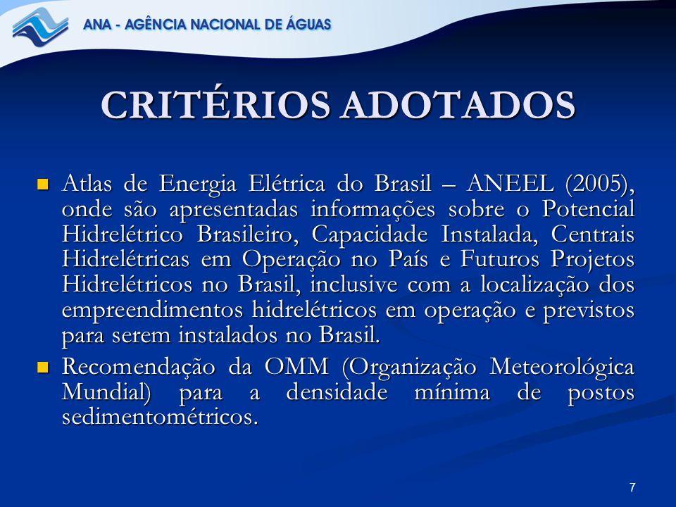 CRITÉRIOS ADOTADOS