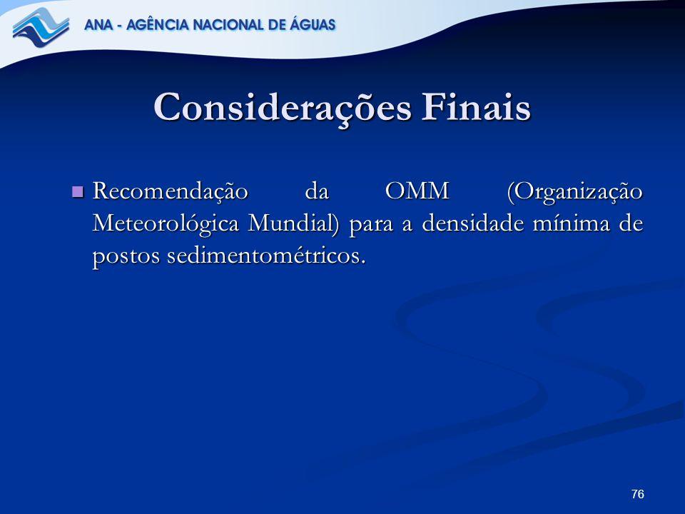 Considerações Finais Recomendação da OMM (Organização Meteorológica Mundial) para a densidade mínima de postos sedimentométricos.