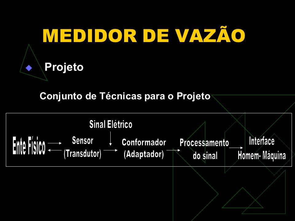 MEDIDOR DE VAZÃO Ente Físico Sensor (Transdutor) Interface