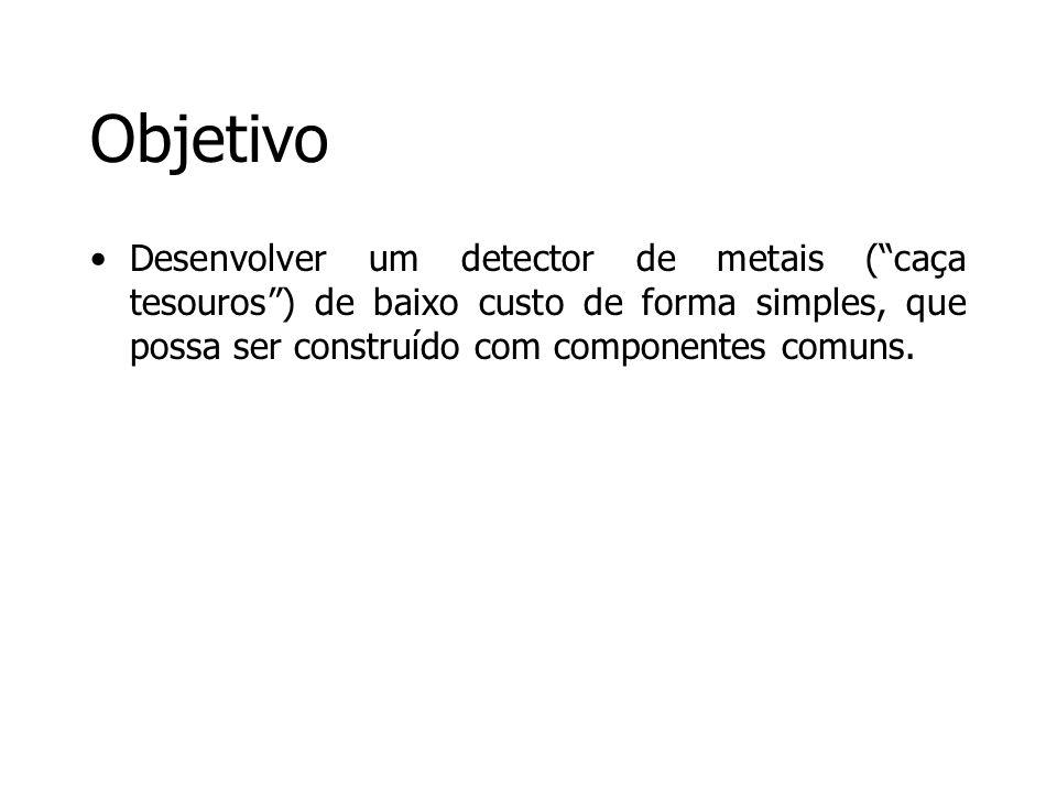 Objetivo Desenvolver um detector de metais ( caça tesouros ) de baixo custo de forma simples, que possa ser construído com componentes comuns.