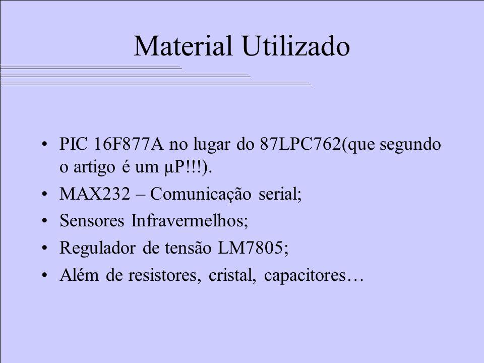 Material Utilizado PIC 16F877A no lugar do 87LPC762(que segundo o artigo é um µP!!!). MAX232 – Comunicação serial;