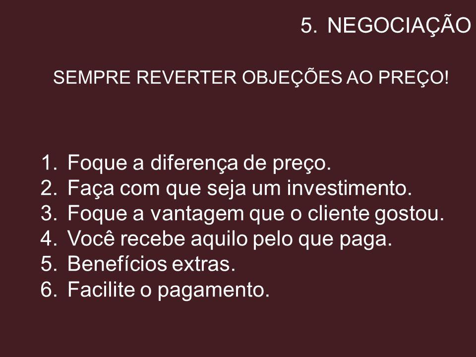 SEMPRE REVERTER OBJEÇÕES AO PREÇO!