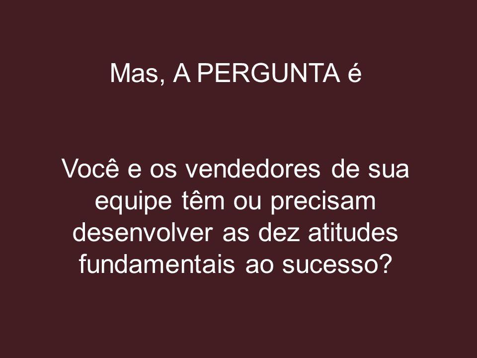 Mas, A PERGUNTA é Você e os vendedores de sua equipe têm ou precisam desenvolver as dez atitudes fundamentais ao sucesso